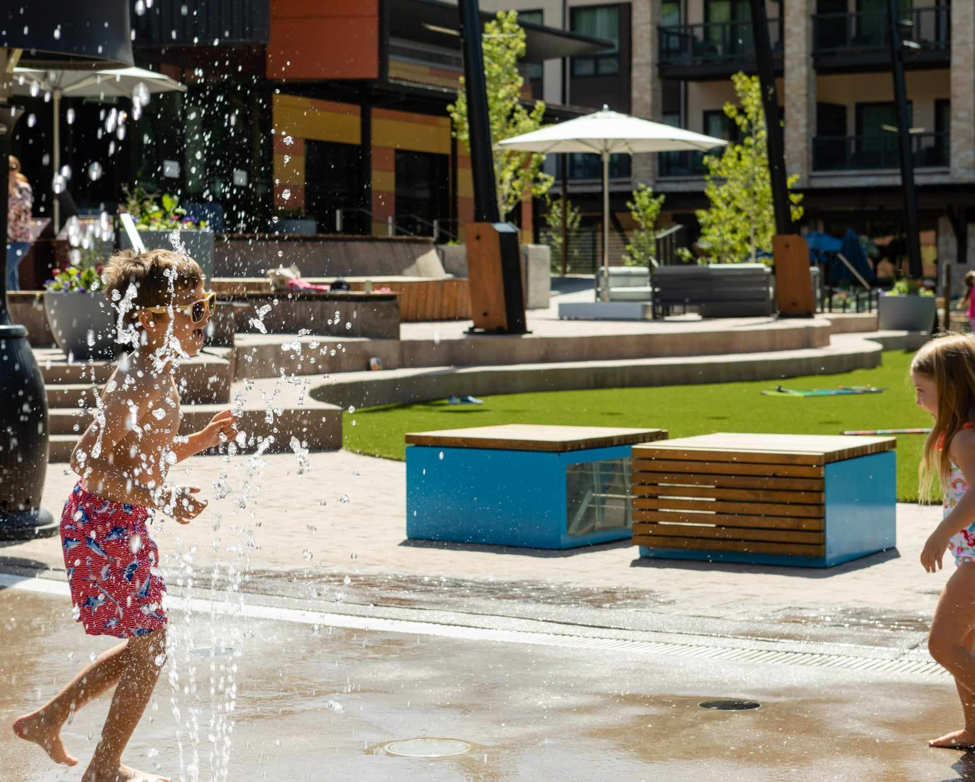 Splash Fountain - Bring the kids to play around in the splash fountains, a refreshing way to cool off all summer long.