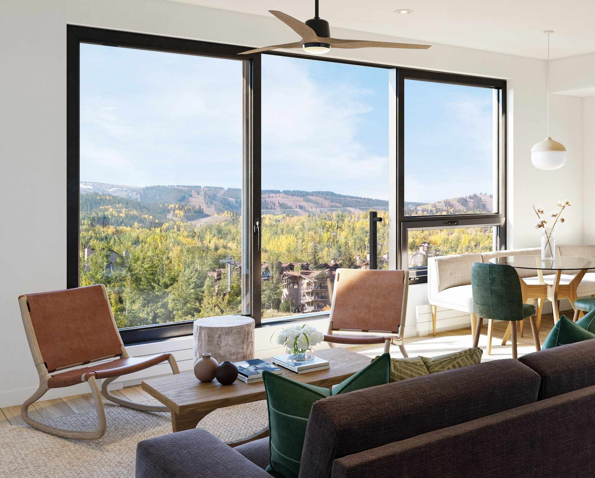 Infinity Living Rooms - Many residences include sliding doors that open to the outdoors, creating a seamless transition from inside to out while bringing in plenty of mountain air and natural light.