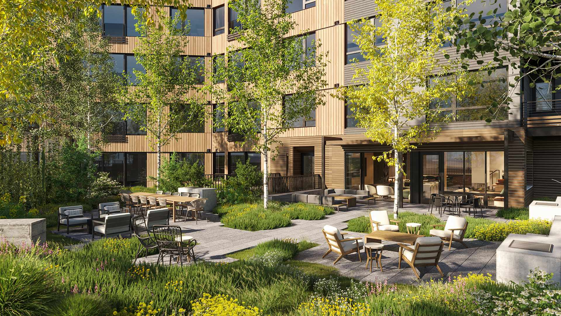 Courtyard - Step out of the Electric Lounge into the Courtyard, a private outdoor space for owners to relax and enjoy the Colorado sunshine.